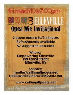 CAPS ELLENVILLE - OPEN MIC INVITATIONAL - Friday, March 10, 7-10 pm